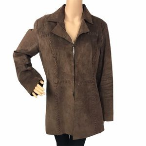 Vintage sonoma 90s brown leather trench coat large